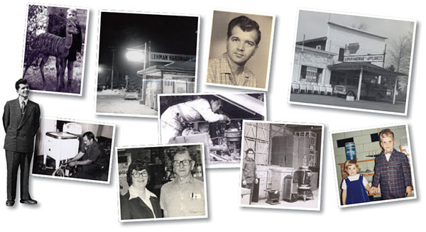 Collage of photos of Lehman's founder, Jay Lehman and other employees