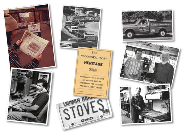 Collage of photos of The Good Neighbor Heritage Catalog and Lehman's employees