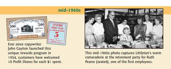 circa 1960: Ever since copywriter John Gayton launched this unique rewards program in 1954, customers have welcomed 10 Profit Shares for each $1 spent. This mid-1960s photo captures Littleton's warm camaraderie at the retirement party for Ruth Pearce (seated), one of the first employees.