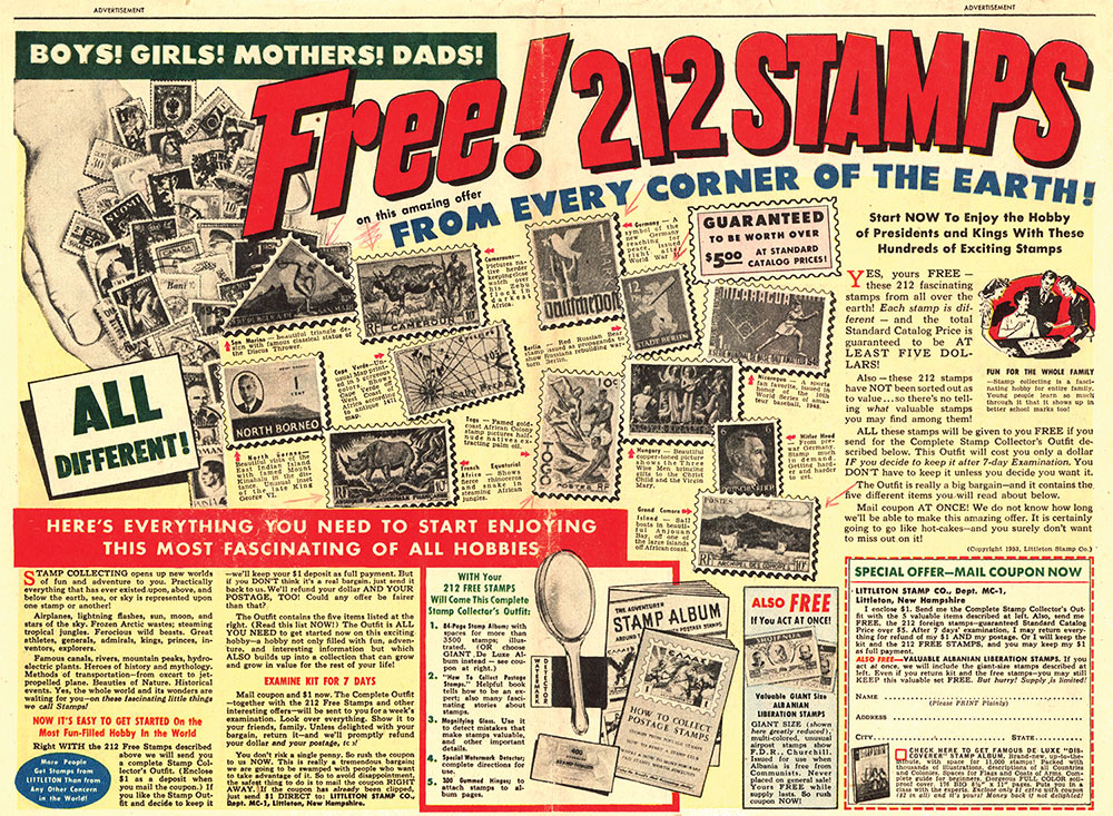 Ad: Free! 212 Stamps!