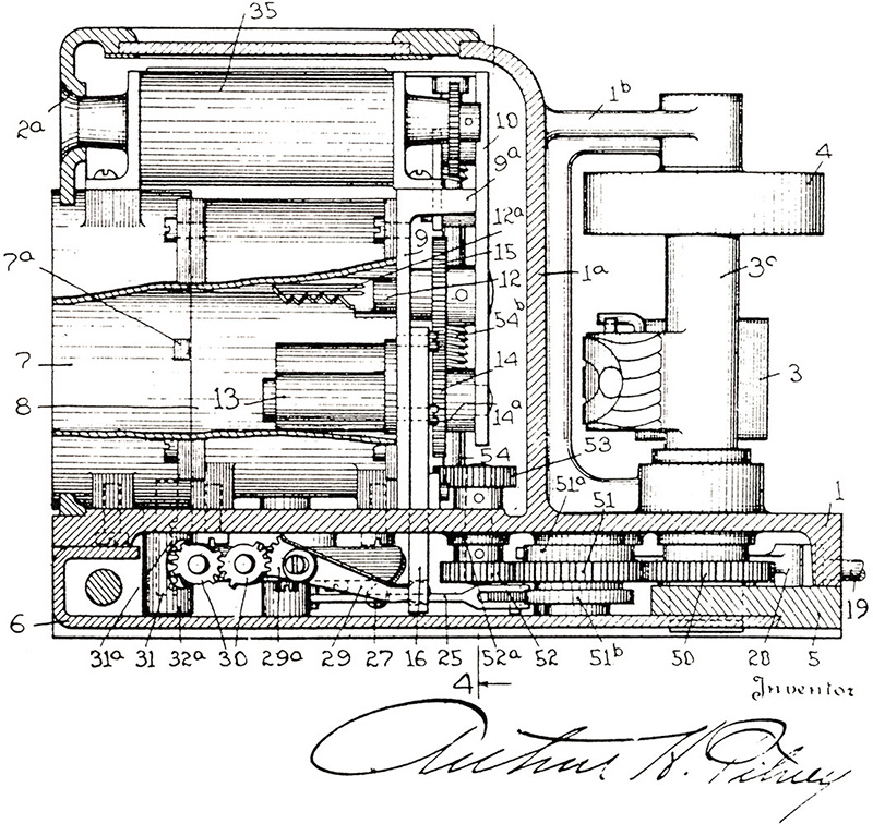 Drawing of the Model M postage meter