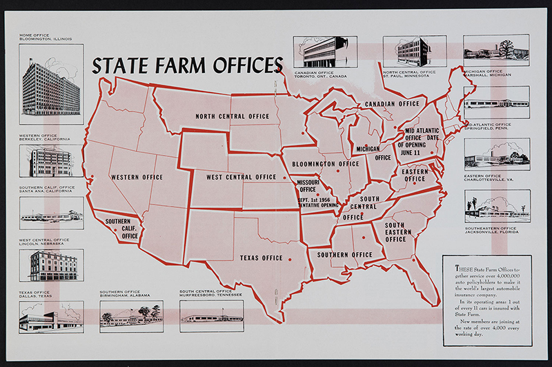 Map of State Farm Offices in the US, 1954