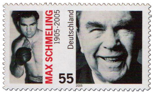 55c Max Schmeling 1905-2005 stamp with photos of him