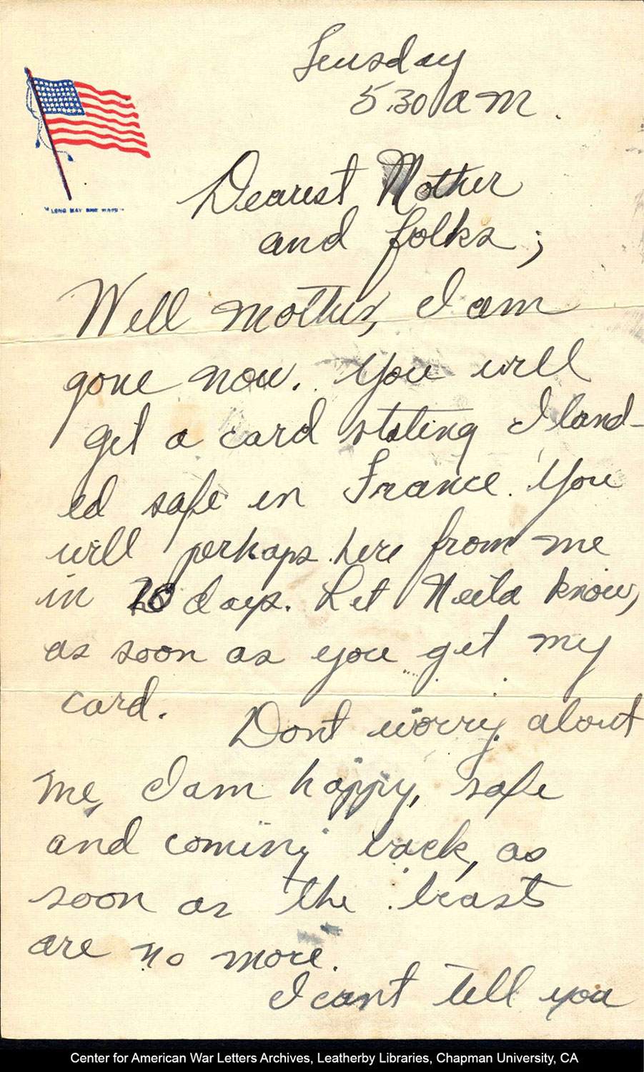 one page of a hand-written letter