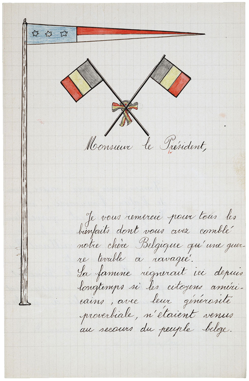 one page of a hand-written letter with a drawing of three flags