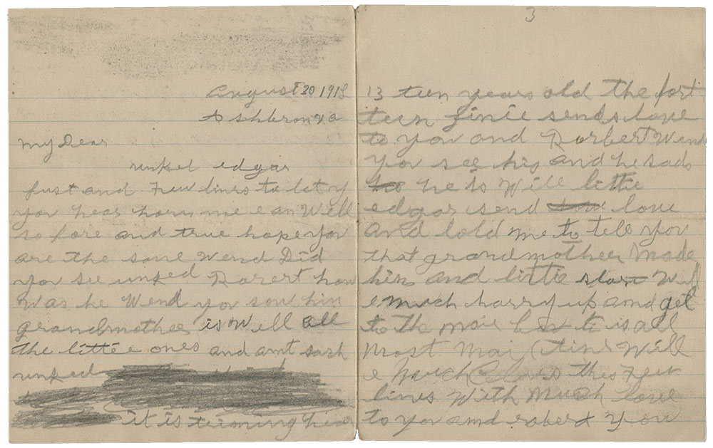 two pages of a hand-written letter