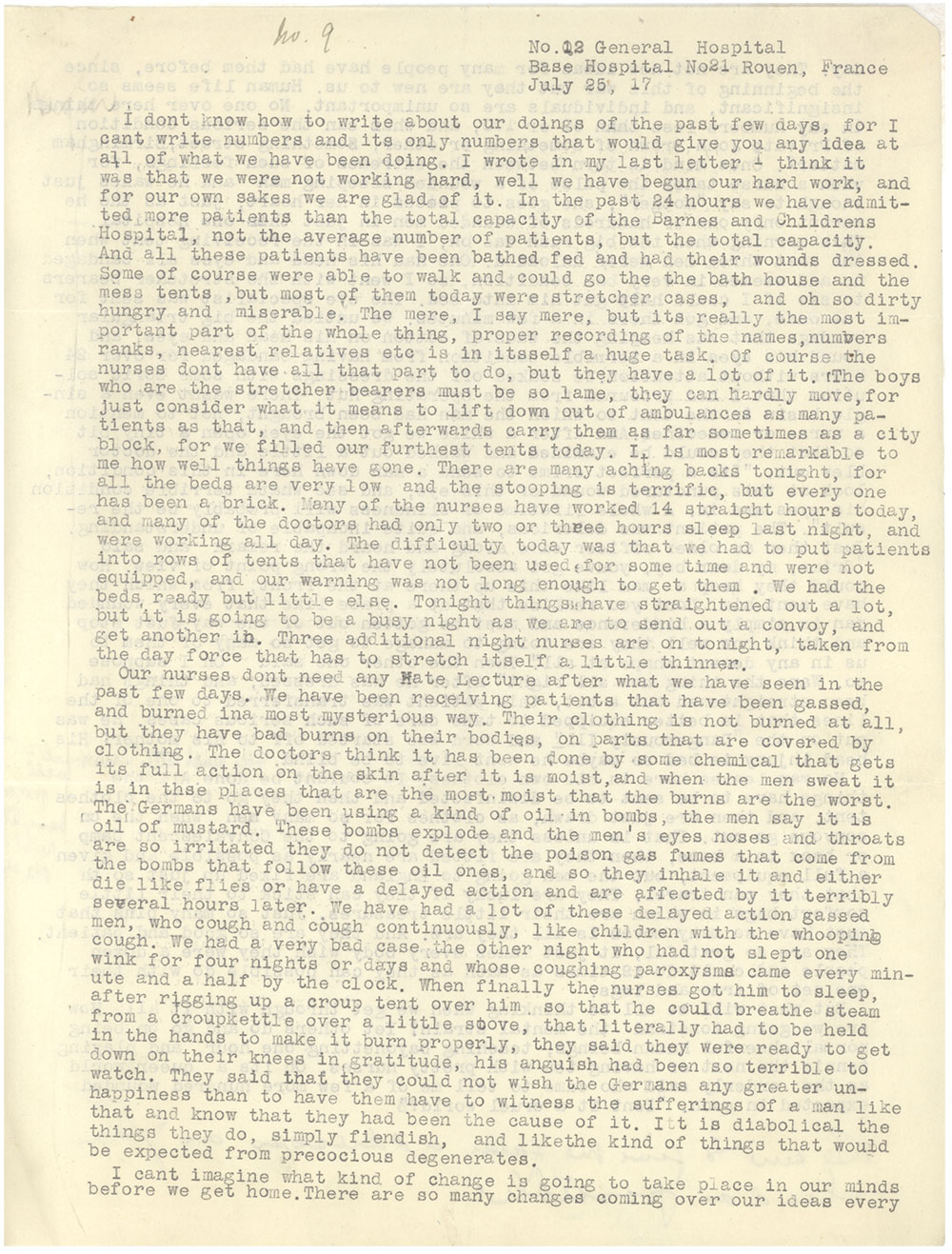 one page of a typed letter
