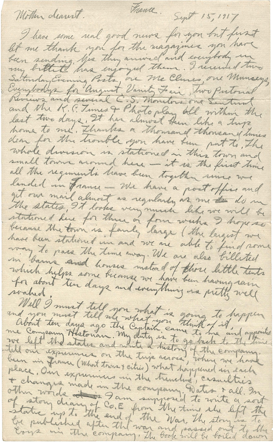 one page of a handwritten letter