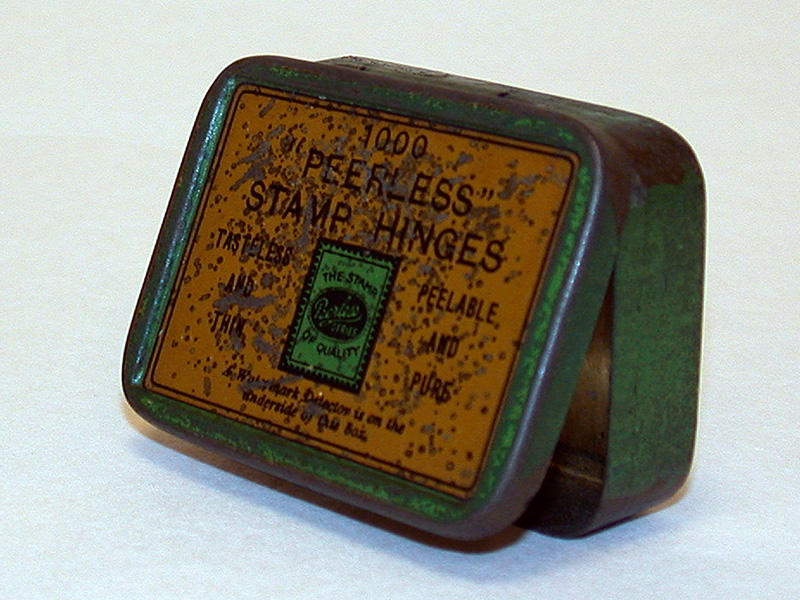 a Peerless stamp hinges container