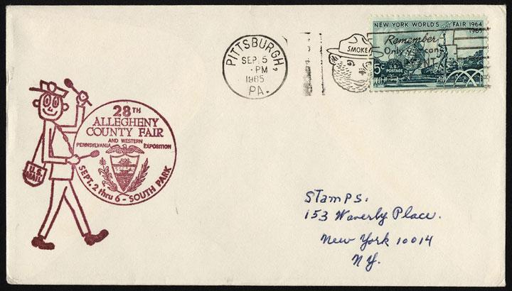 Mr. ZIP, usado para anunciar una Feria en Pennsylvania, en un sobre preimpreso en 1965.