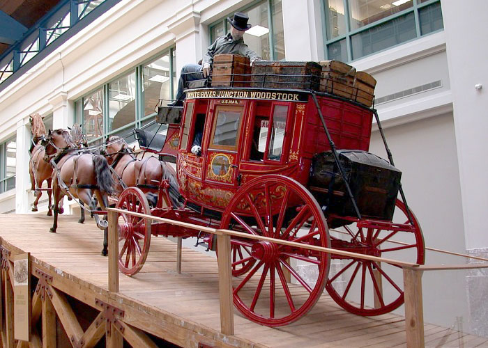 1851 red Concord stagecoach on display at the National Postal Museum