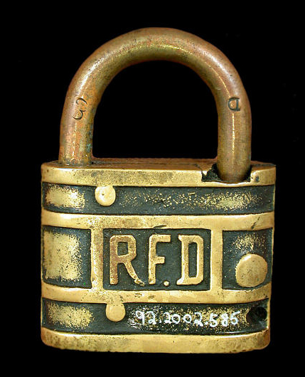Rural Free Delivery warded mailbox padlock