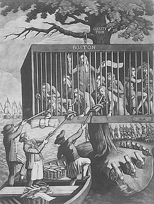 Political cartoon of the Bostonians in a cage under British guard