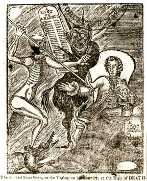 Print of Thomas Hutchinson with Death as a skeleton and the Devil nearby