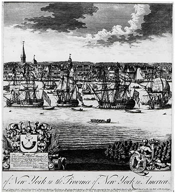 Engraving showing the New York City port