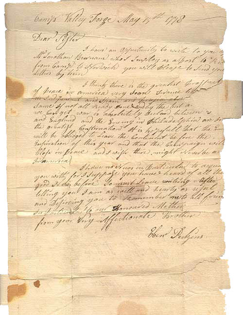 Letter from Ebenezer Perkins to his sister, 1778