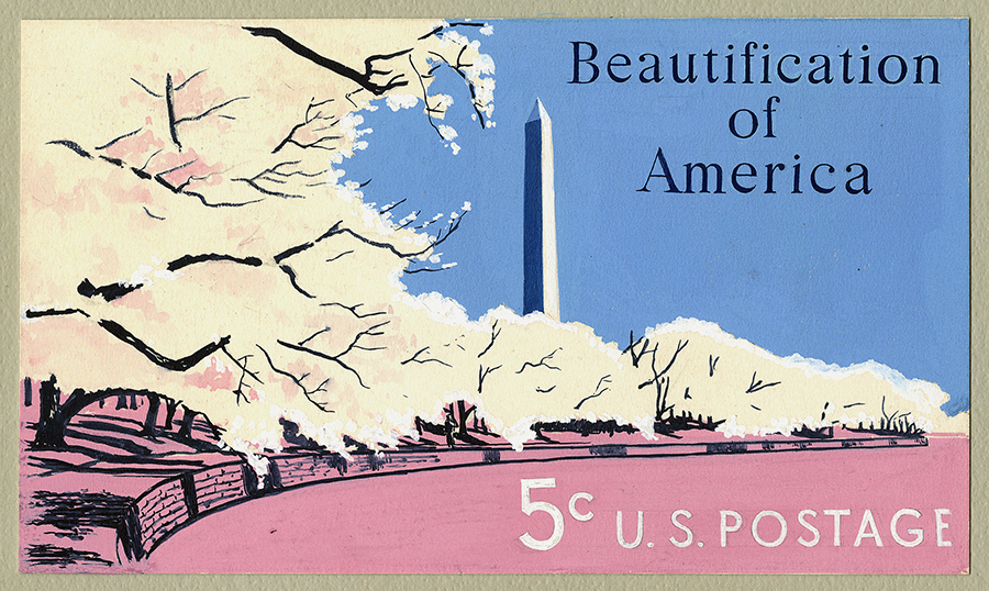 Diseño para un sello de la serie Beautification of America (1969).