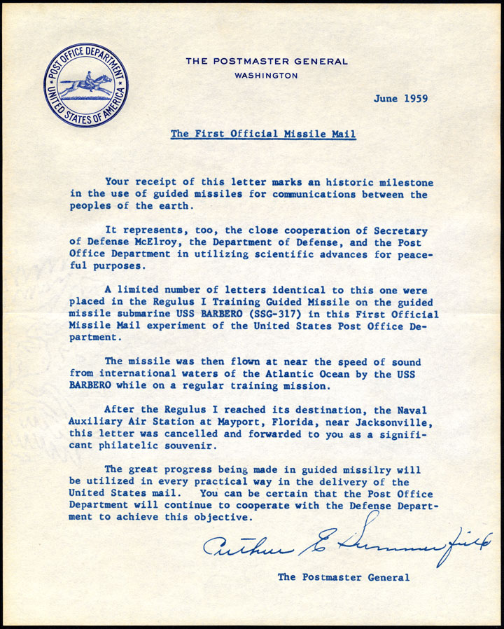 Postmaster General Summerfield's 1959  letter  about the first official missile mail