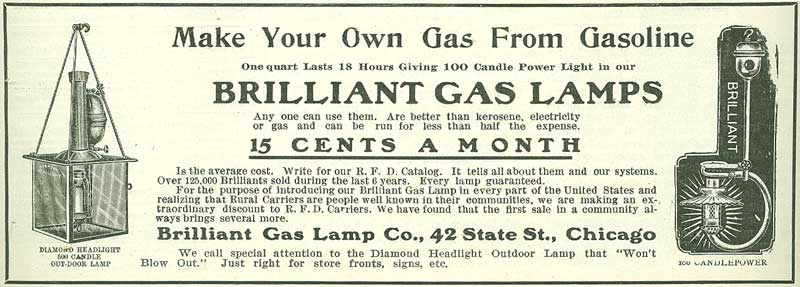 Brilliant Gas Lamp Company ad