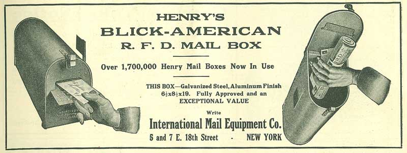 Henry's Blick-American mailbox advertisement