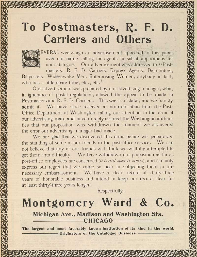 Montgomery Ward apology