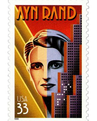 A stamp featuring a illistratin of Ayn Rand