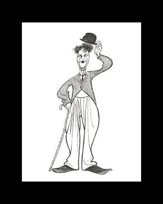 Drawing or comic of Charlie Chaplin