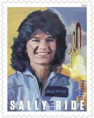 Sally Ride illistration with shuttle lanch in the background