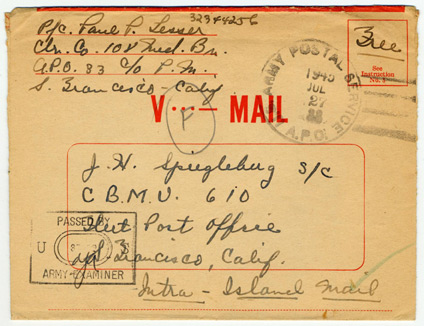 V-Mail letter addressed to J.H. Spiegleburg, closed