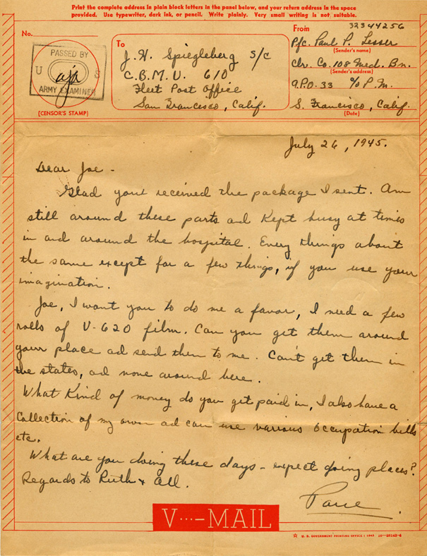 V-Mail letter to Joe, open