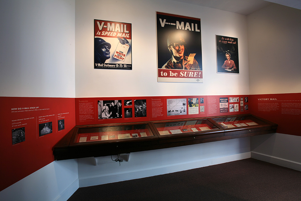 Victory Mail exhibit case and wall